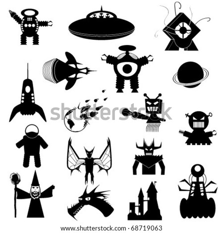 Set of Science Fiction and Fantasy Vector Icons