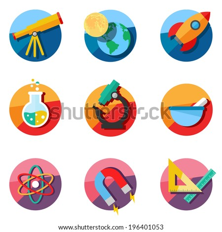 set of science icons astronomy
