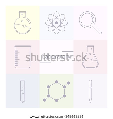 Set of science icons. Chemical tools and utensils. Laboratory equipment. Chemical test tubes icons. Research and science. Vector Illustration, graphic elements for design.