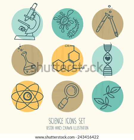 set of science icons in hand