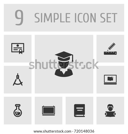 Set Of 9 Science Icons Set.Collection Of Blackboard, Certificate, Diplomaed Male And Other Elements.