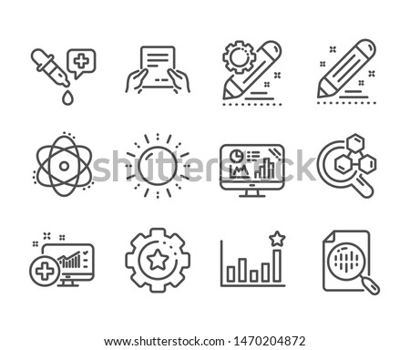 Set of Science icons, such as Atom, Receive file, Brand contract, Chemistry lab, Medical analytics, Analytics chart, Project edit, Efficacy, Chemistry pipette, Sun energy, Settings gear. Vector