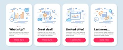 Set of Science icons, such as Column chart, Website statistics, Cogwheel symbols. Mobile screen app banners. Marketing line icons. Financial graph, Data analysis, Idea bulb. Article. Vector