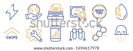 Set of Science icons, such as Graph phone, Chemistry beaker. Certificate, save planet. Customisation, Energy, Face recognition. Chemical formula, Swipe up, Typewriter. Vector Foto d'archivio ©