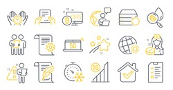 Set of Science icons, such as Interview, Recovery server, Water analysis symbols. Technical documentation, Nurse, World weather signs. Feather, Receive file, Safe time. Freezing timer. Vector