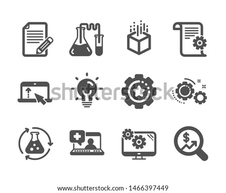 Set of Science icons, such as Medical help, Settings gear, Settings, Currency audit, Article, Augmented reality, Swipe up, Technical documentation, Chemistry lab, Chemistry experiment. Vector