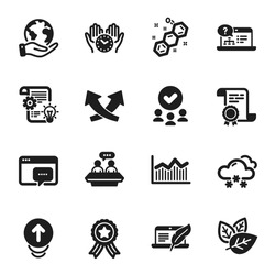 Set of Science icons, such as Snow weather, Cogwheel. Certificate, approved group, save planet. Organic tested, Chemical formula, Seo message. Money diagram, Safe time, Online help. Vector