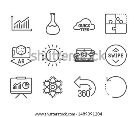 Set of Science icons, such as Swipe up, Augmented reality, Graph, Recovery data, Copywriting notebook, Quick tips, Puzzle, Sunny weather, Presentation, Chemistry atom, Chemistry lab. Vector