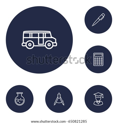 set of 6 science outline icons...