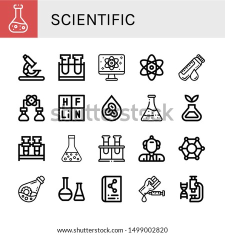 set of scientific icons such as