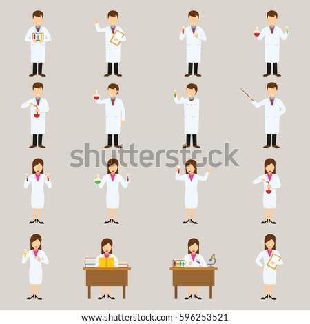 Set of Scientist Character Design Vector