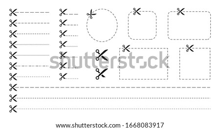 Set of Scissors and coupon, cut template and dashed line. Black icons. Gift Coupon element template, graphics design. Voucher promo code. Shopping, food and drink, business. Vector illustration. ストックフォト ©
