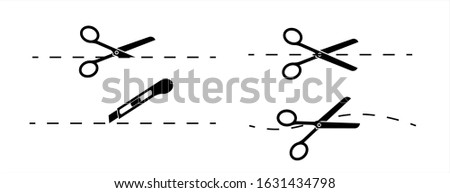 Set of scissors and stationery knife with cut lines. Scissors with cut lines, coupon cutting icon. Scissor cutting icon vector illustration. Isolated on transparent background