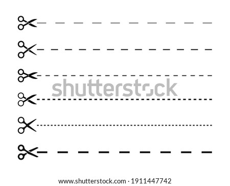 Set of scissors with cut lines. Black scissors cutting. Vector icons.