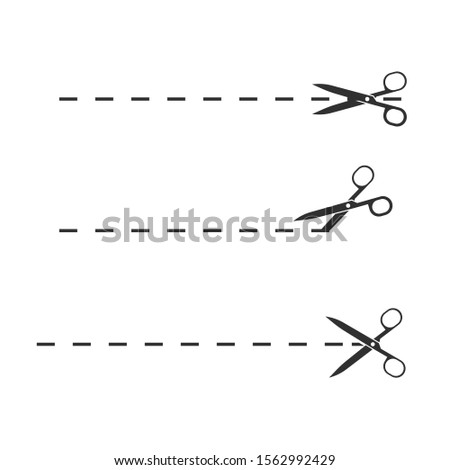 Set of scissors with cut lines. Scissors with cut lines, coupon cutting icon. Scissor cutting icon vector illustration. Isolated on white background