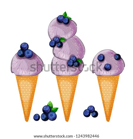 Set of scoops of blueberry icecream with berries pieces in a waffle cone isolated on white background. Cartoon style vector illustration.