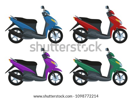 Set of scooters with color variations