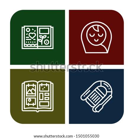 Set of scrapbook icons such as Scrapbook, Baby boy, Photo album, Lifeboat , scrapbook