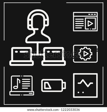 Set of 6 screen outline icons such as monitor, support, low battery, music and multimedia, multimedia
