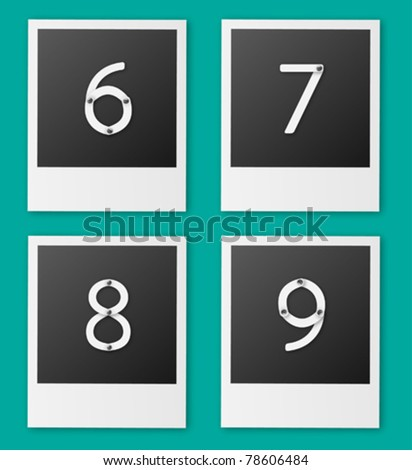 Set of screw alphabet vector (6 7 8 9)