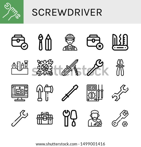Set of screwdriver icons such as Wrench, Toolbox, Paint tools, Electrician, Swiss army knife, Painting tools, Tool, Screwdriver, Plier, Edit tool, Tools, Multimeter , screwdriver