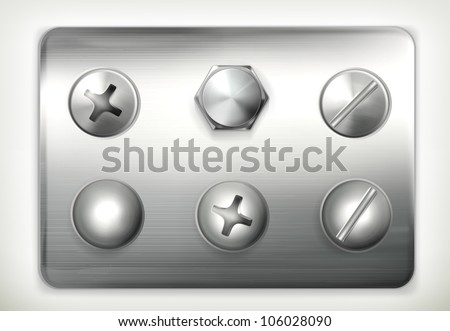 Set of screws, vector