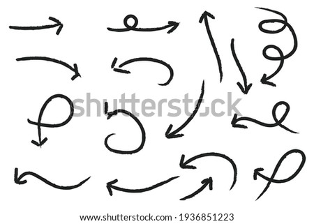 Set of Scribble arrow isolated on white background. black hand drawn arrows set icon