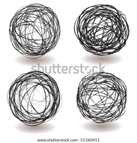 Set of scribble ball icons with pen drawing and drop shadow - stock vector