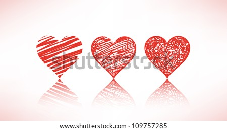set of scribble hearts