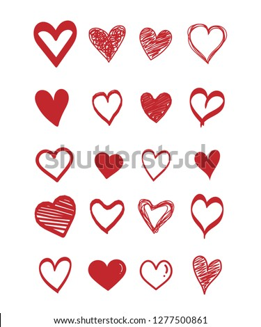Set of scribble red hearts icon. Collection of heart shapes draw the hand . Symbol of love. Design elements for Valentine's Day card. Vector hearts. Doodle. Vector illustration.
