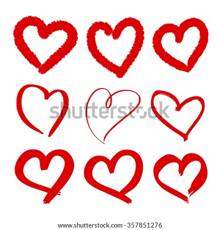Set Of 9 Scribbled Hearts. Vector grunge style icons collection. Vector illustration of the brush hand drawn sketchy hearts on the white background.