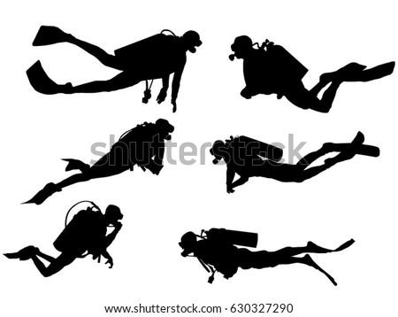 Set of scuba diver silhouette Photo stock ©