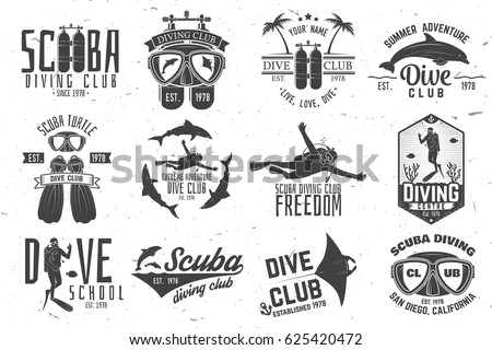 set of scuba diving club and