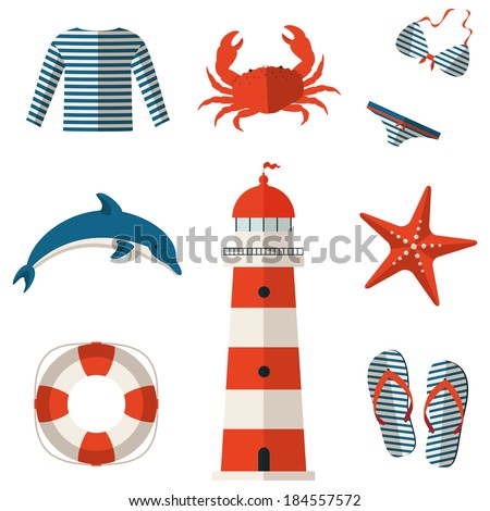 set of sea and beach flat icons