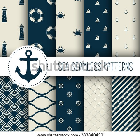 Set of sea and nautical seamless patterns. Vector illustration.