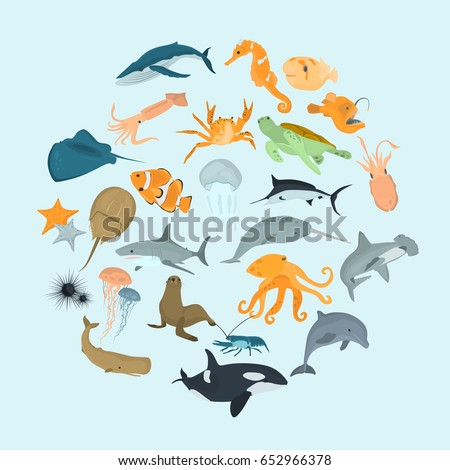 set of sea animals color flat