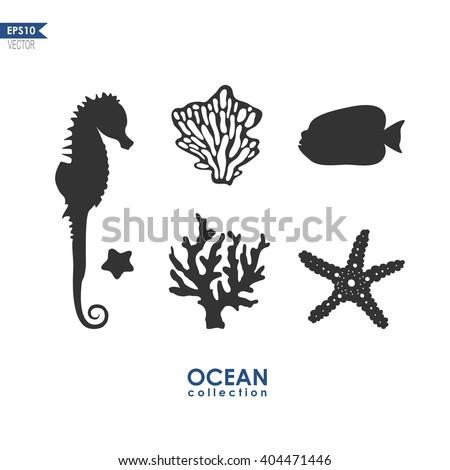 set of sea animals isolated on