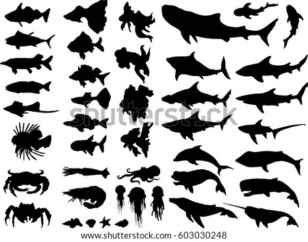 set of sea animals silhouettes