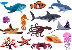 set of sea creatures. isolated ocean animals