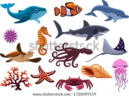 set of sea creatures. isolated ocean animals stock photo