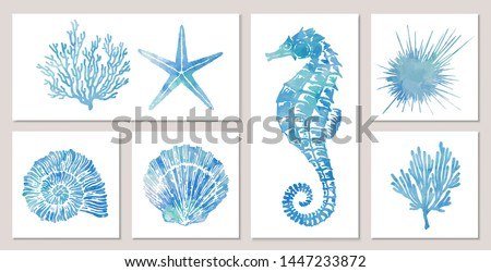 set of sea elements in blue
