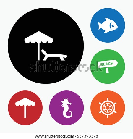 set of 6 sea filled icons such