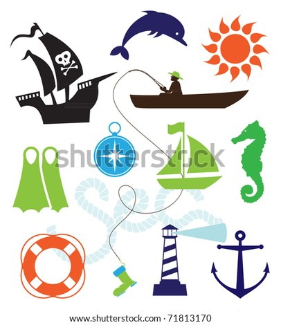 Set of sea icons