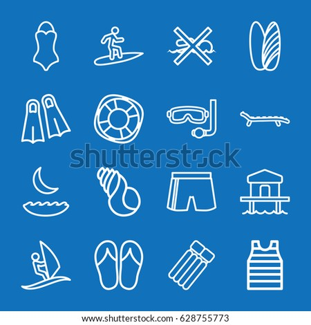 set of 16 sea outline icons