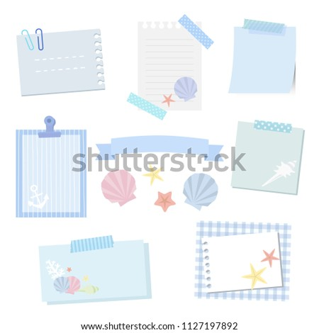 set of sea shell and paper frames / vector eps 10 illustration