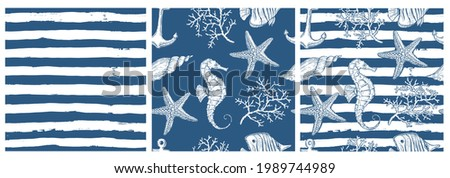 Set of sea style seamless patterns. Underwater creatures, starfish, sea  horse, coral, fish. marine, nautical endless wallpaper, background. Endless stripes.  Hand drawn style.