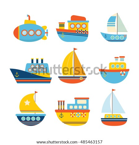 Set of sea transport. Different kind of boats. Fishing boats, yachts and sailboats. Vector illustration