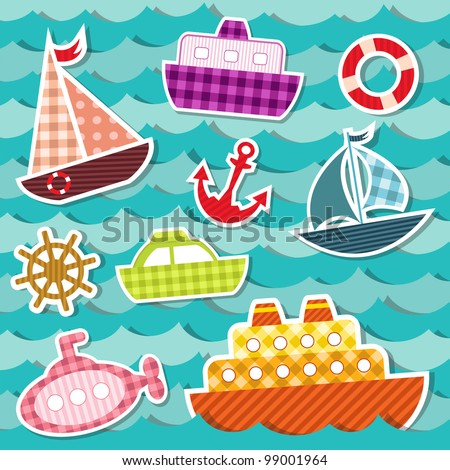 Set of sea transport stickers. Eps 10