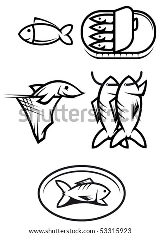 Set of seafood and fish symbols or logo template. Jpeg version also available in gallery