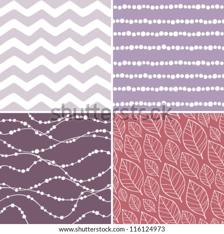 Set of seamless abstract and floral patterns